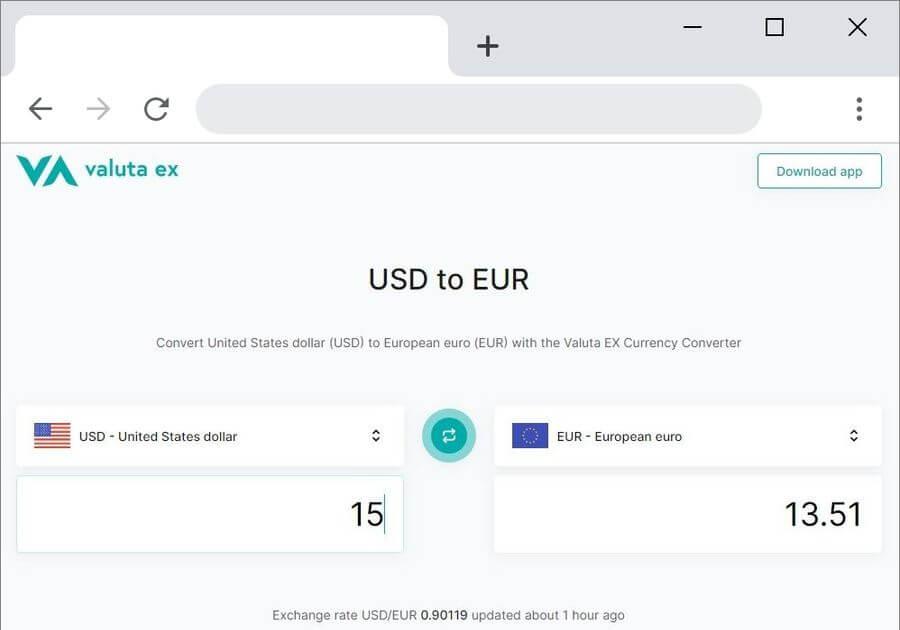Valuta EX: convertidor de moneda online sencillo e intuitivo