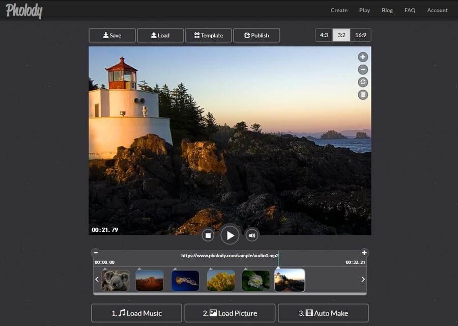 Crear vídeos con fotos y música gratis y online con Pholody