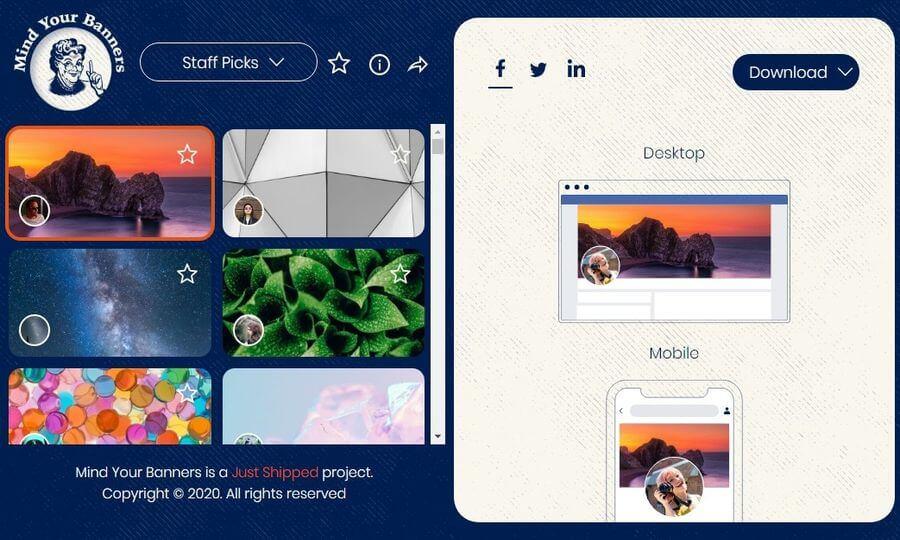 Mind Your Banners: descargar hermosas imágenes de portada para Facebook, Twitter y LinkedIn