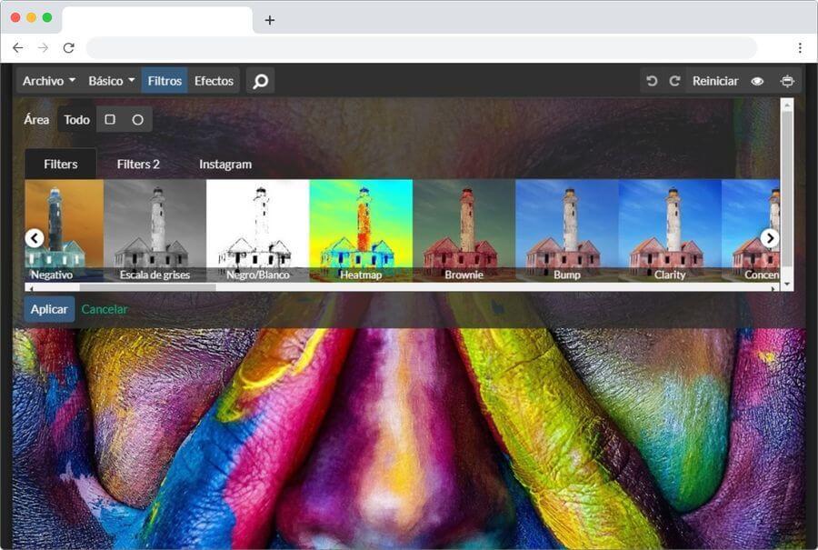 Aplicar filtros a fotos con un clic con una aplicación web gratuita