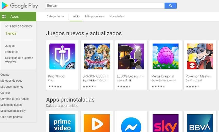 Descargar el APK de Google Play Store para instalarla en Android