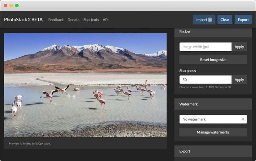 PhotoStack: editor de imágenes online que puede trabajar por lotes