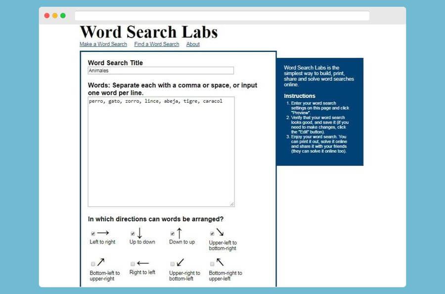 Word Search Labs: crear sopas de letras online y gratis