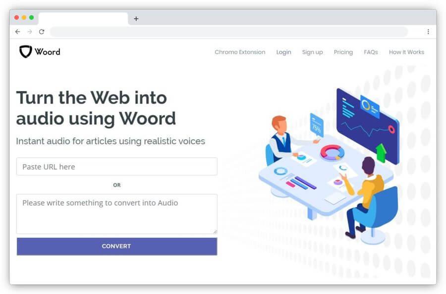Convertir artículos del blog en audio online con Woord