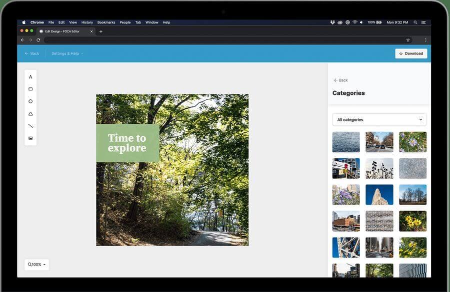 Crear imágenes para redes sociales gratis y online con FOCA Editor