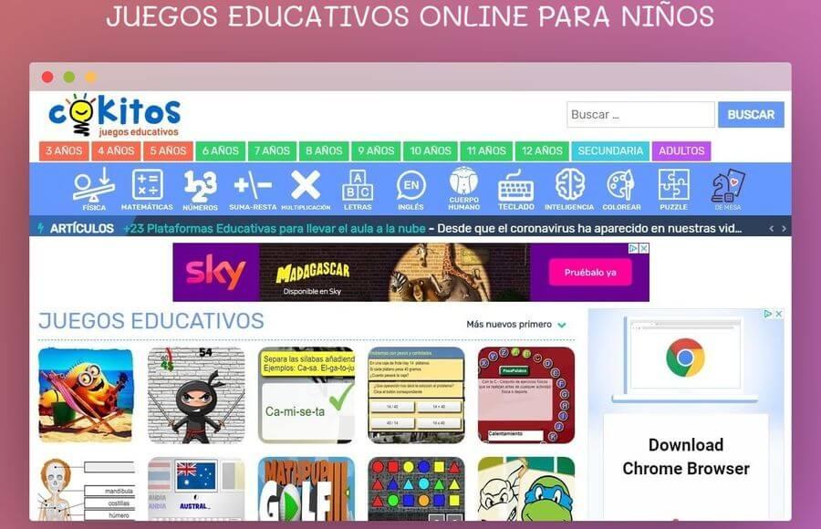 Juegos educativos online para niños y mayores en la página de Cokitos