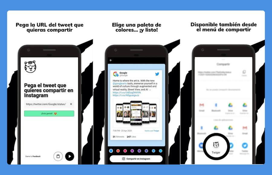 Twiger: una app móvil gratuita para publicar tweets en Instagram