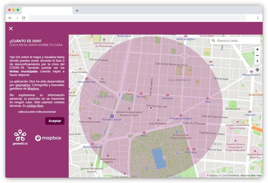 1 km geomatico: la página que calcula la distancia de 1 km desde tu casa