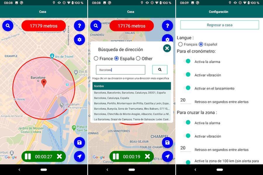 Alertas en el teléfono si superas la distancia de 1 km desde tu hogar
