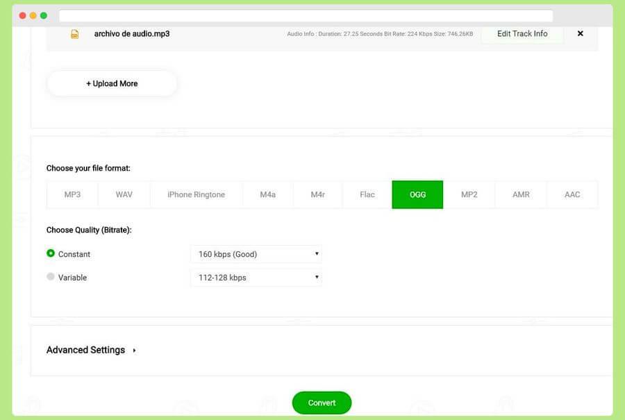 Convertidor de audio gratuito y online compatible con múltiples formatos