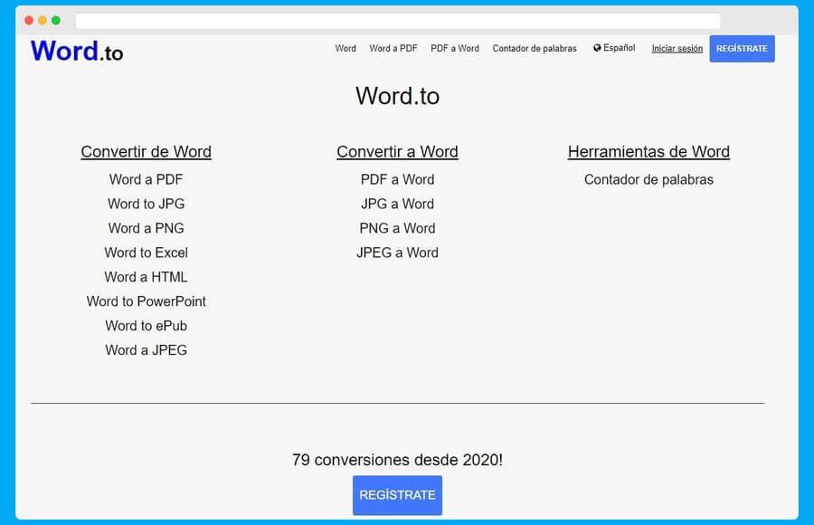 Convertidor de documentos de Word a otros formatos online y gratuito