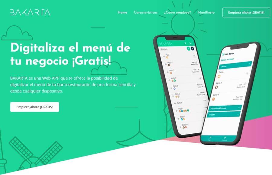 Crear carta de menú digital gratis para tu restaurante o bar con Bakarta
