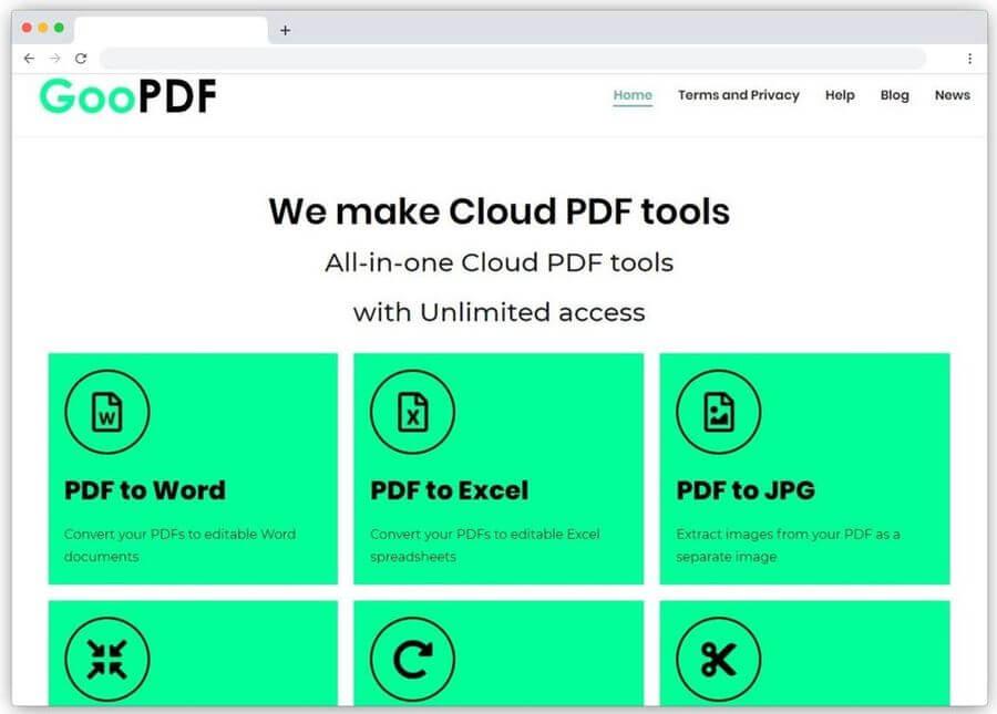GooPDF: herramientas web gratis para editar y convertir PDF