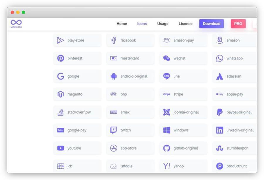 LineIcons: más de 500 iconos gratis para diseñadores y desarrolladores