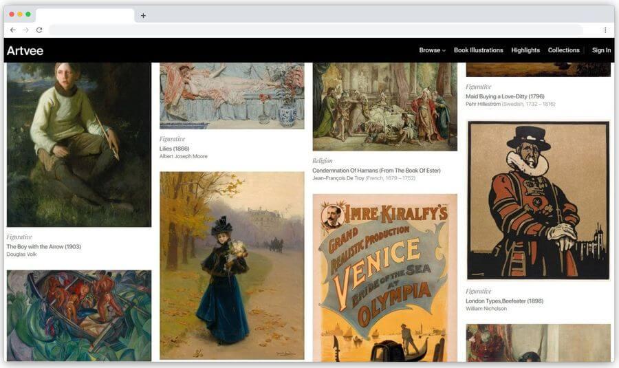 Artvee: obras de arte de alta resolución en dominio público