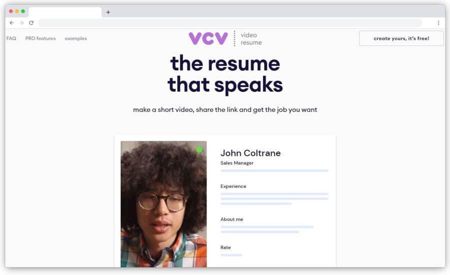 Crear curriculum en vídeo gratis con la página de VCV