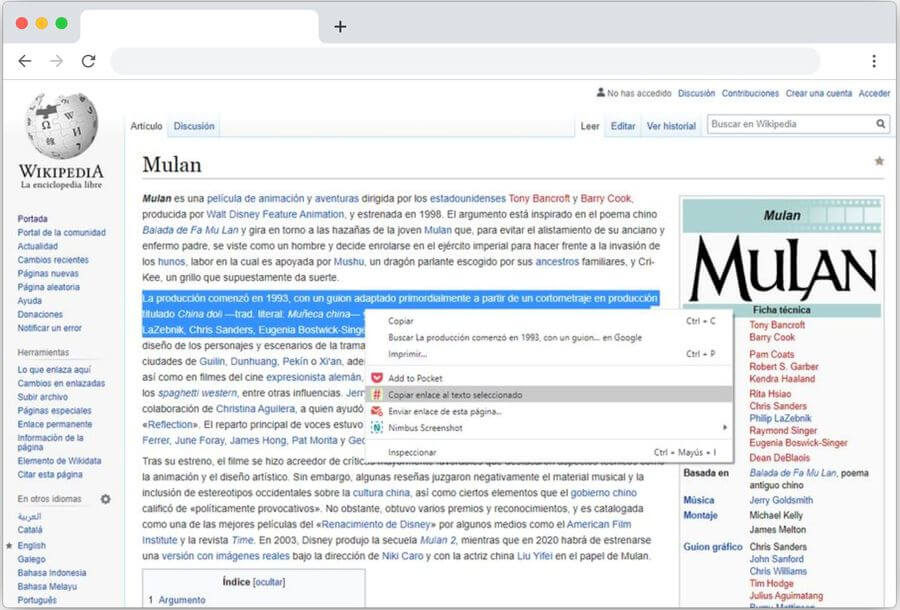 Crear enlaces a textos de una web con esta extensión de Google