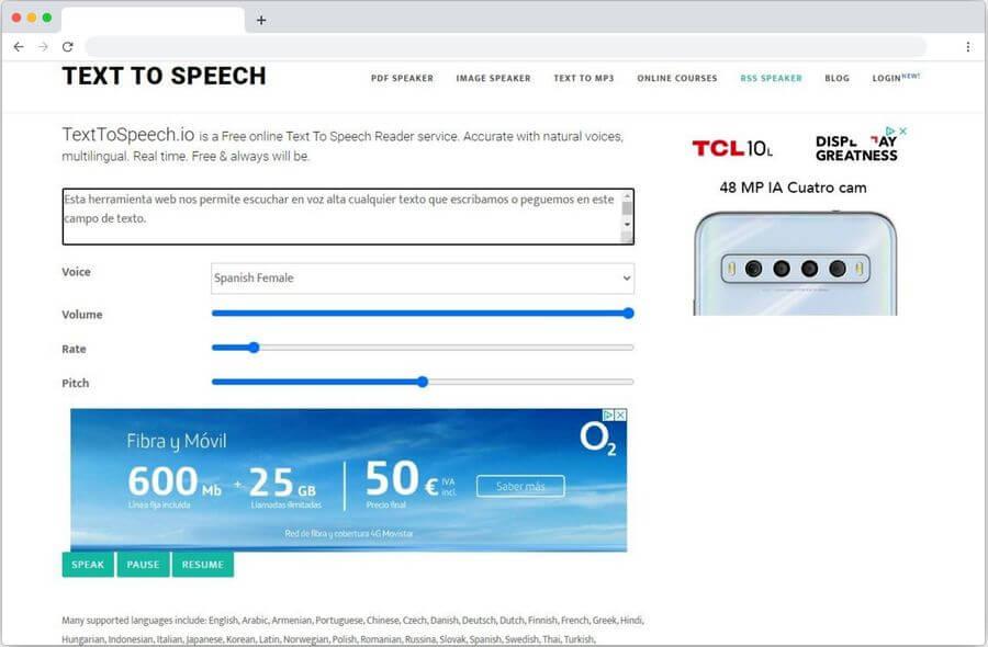 Escuchar cualquier texto gratis y online con TextToSpeech
