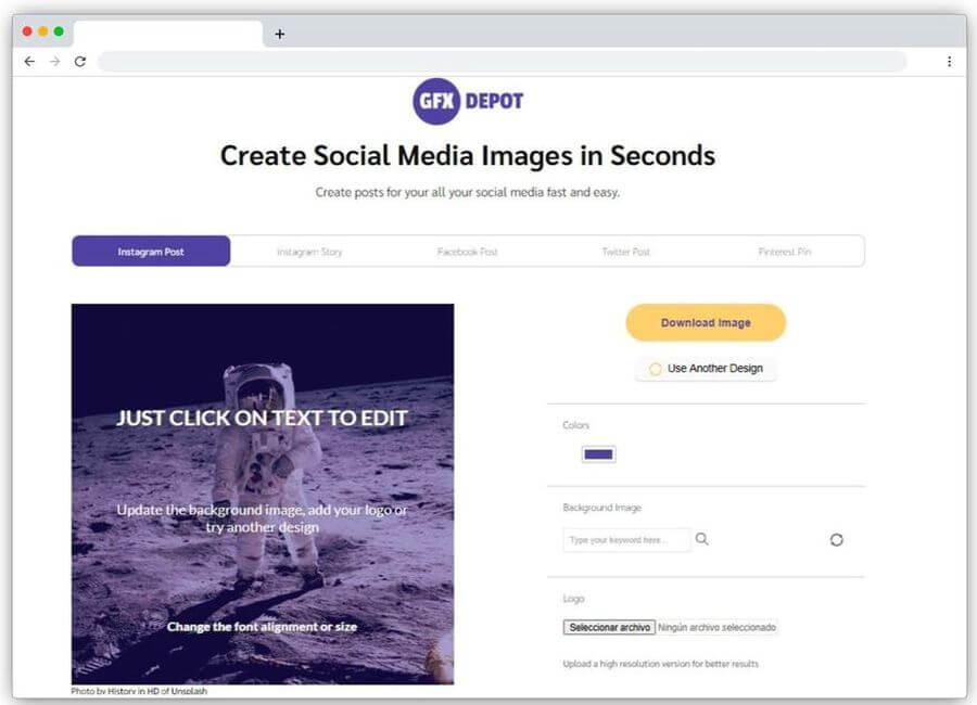 GFX Depot: crea imágenes sociales gratis y en segundos