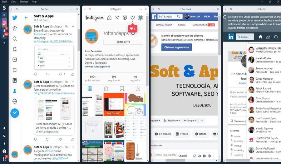 Gestionar todas las redes sociales, correos y mensajería en una aplicación