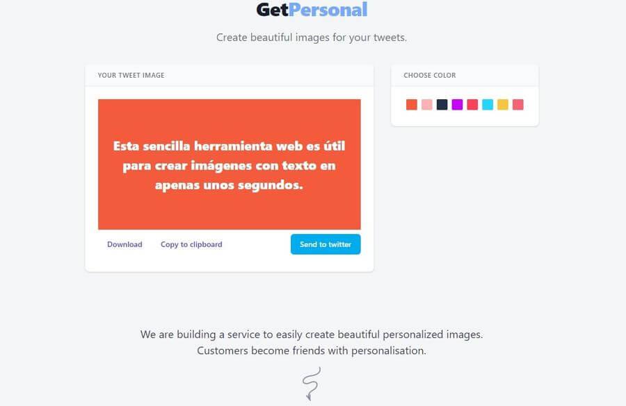GetPersonal: sencilla web para crear imágenes con texto