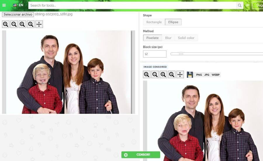 Pixelar rostros en fotos online y gratis con Censor photo