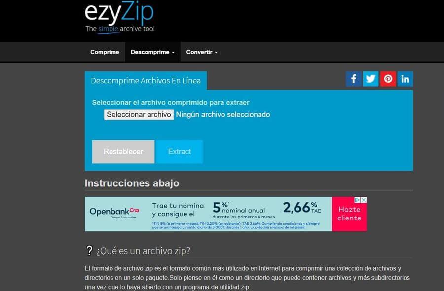 ezyZip: comprimir y descomprimir archivos online y gratis