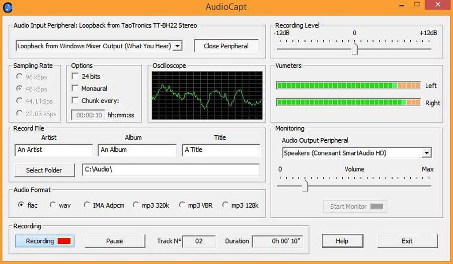 AudioCapt: software gratuito para grabar audio y música