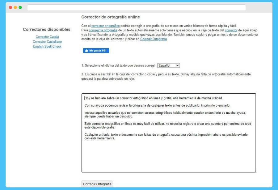 Corrector ortográfico online y gratis para español y otros idiomas