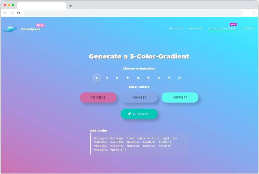 Generador de degradados de 3 colores para sitios web: ColorSpace
