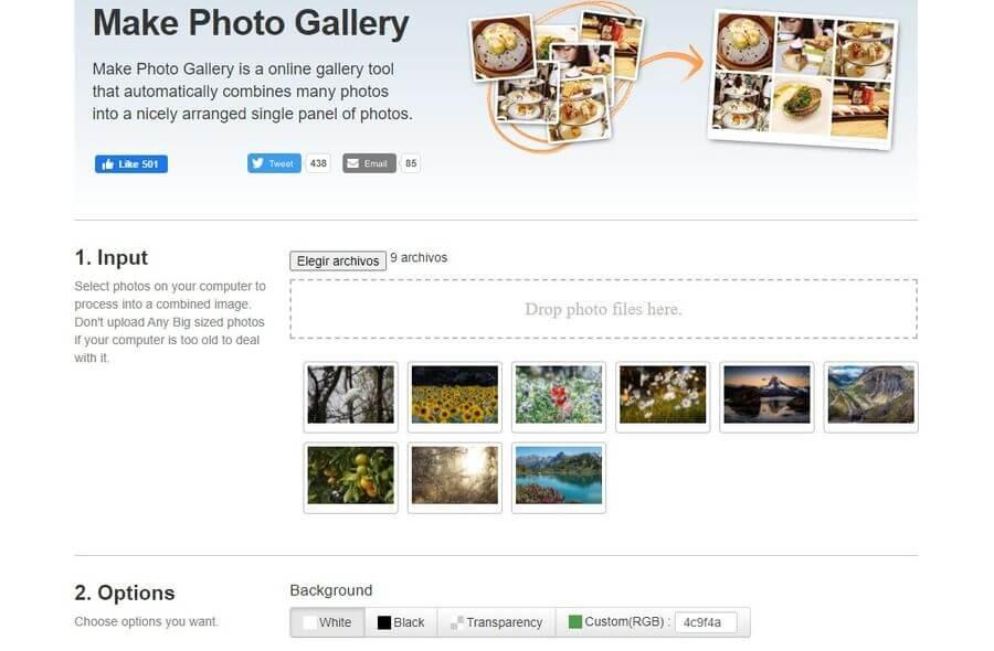Combinar múltiples fotos en una sola imagen con Make Photo Gallery