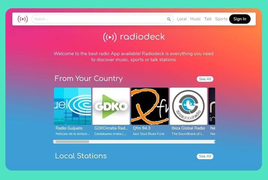 Radiodeck: escuchar online emisoras de radio de todos los géneros
