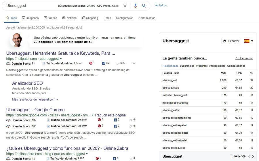 Ubersuggest para Chrome: la extensión más completa y gratuita para SEO