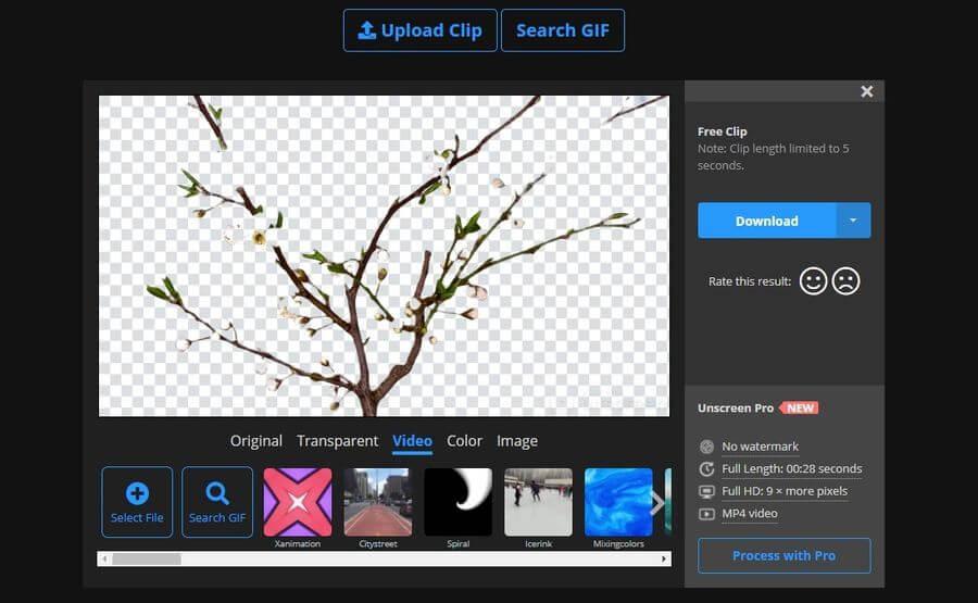 Unscreen: eliminar el fondo de vídeos y gifs de forma automática