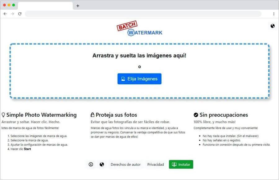 Batch Watermark: aplicar marca de agua a imágenes online y gratis