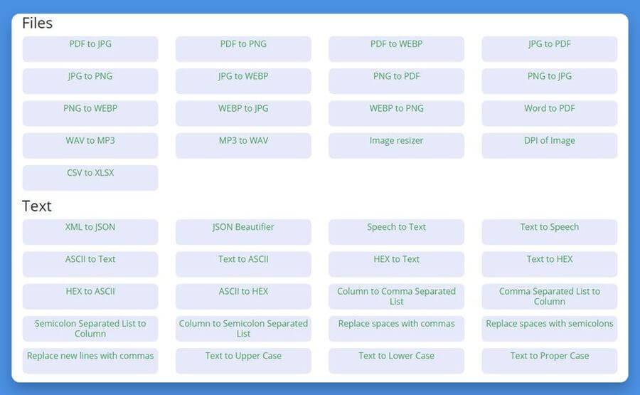 Convert Town: herramientas web gratuitas para convertir archivos y textos