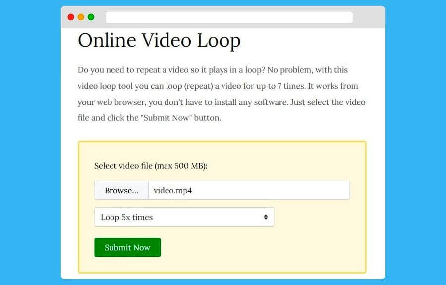 Convertir vídeo a bucle online y gratis con Online Video Loop