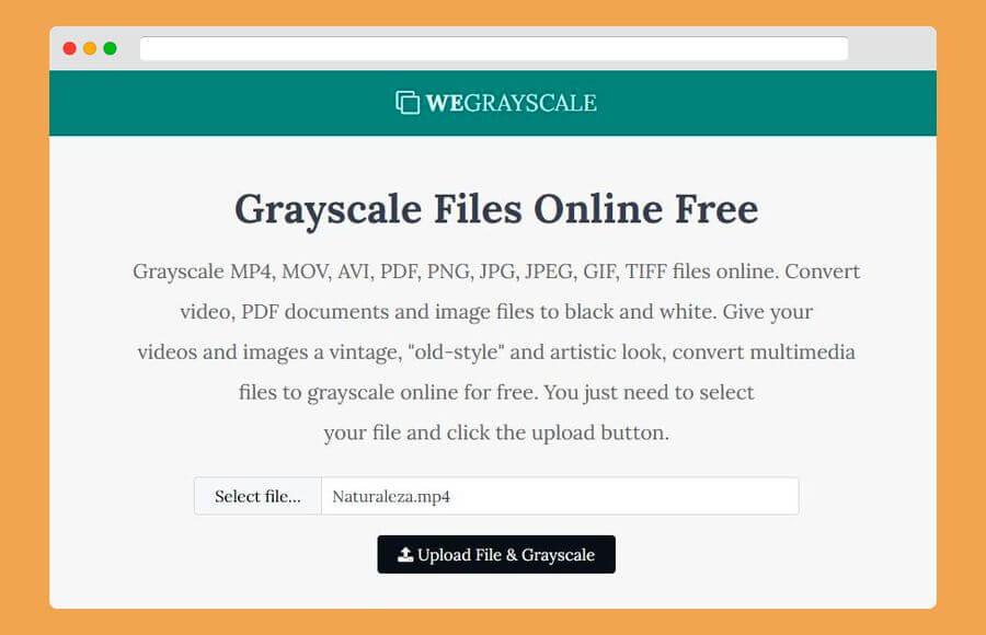 WeGrayscale: convertir vídeos a blanco y negro, también imágenes y PDF