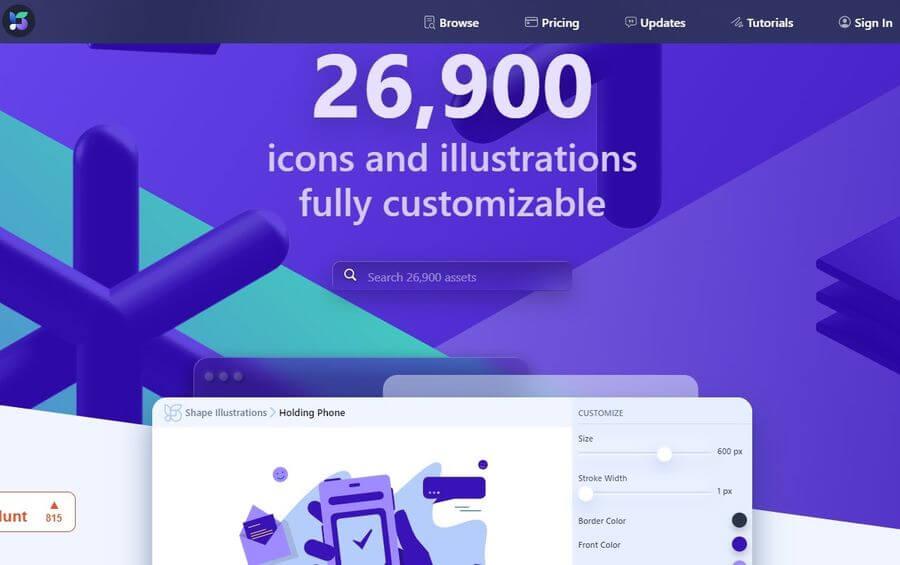 Miles de iconos e ilustraciones personalizables en la web de Shape
