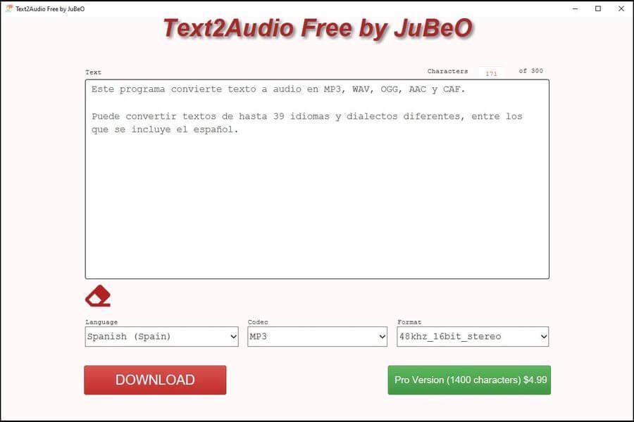 Text2Audio Free by JuBeO: convertir texto a MP3, WAV, OGG y más