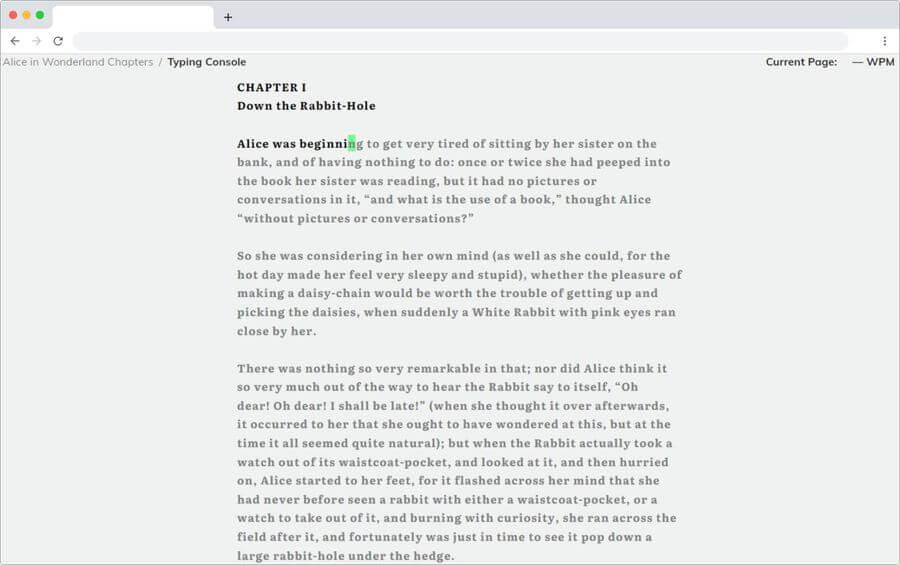 TypeLit: practica mecanografía escribiendo libros clásicos en inglés