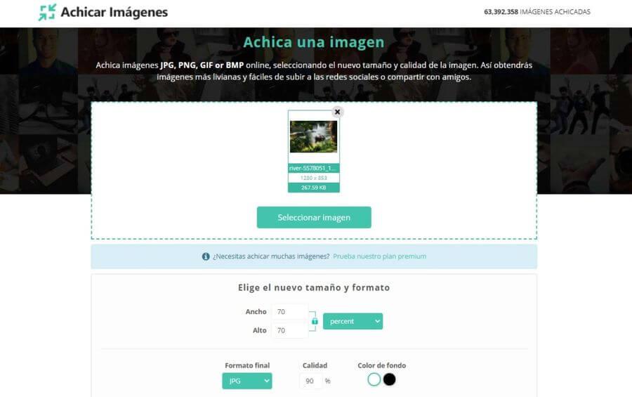 Achicar imágenes online: herramienta web para reducir imágenes en línea