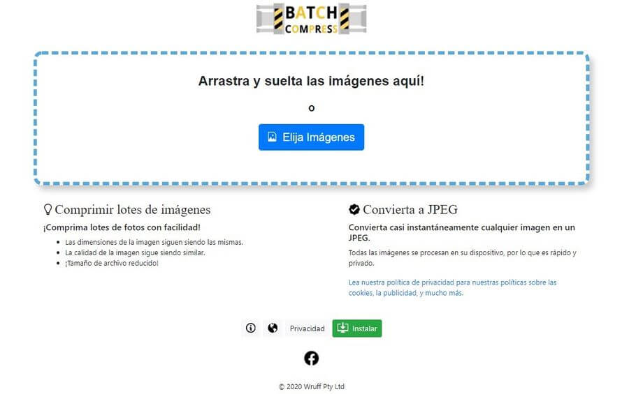 Batch Compress: web gratuita para compresión de lotes de imágenes