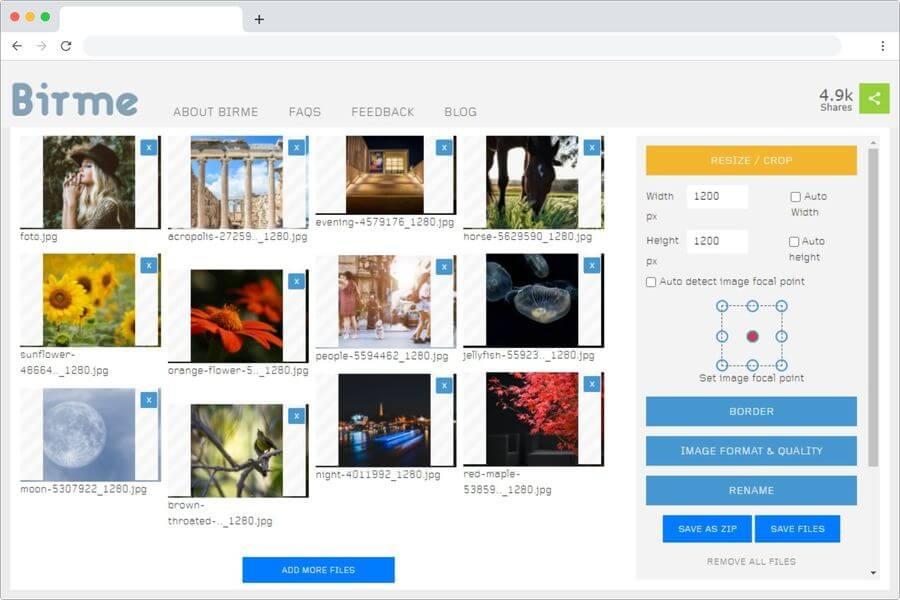 Birme: web gratuita para redimensionar y recortar imágenes online