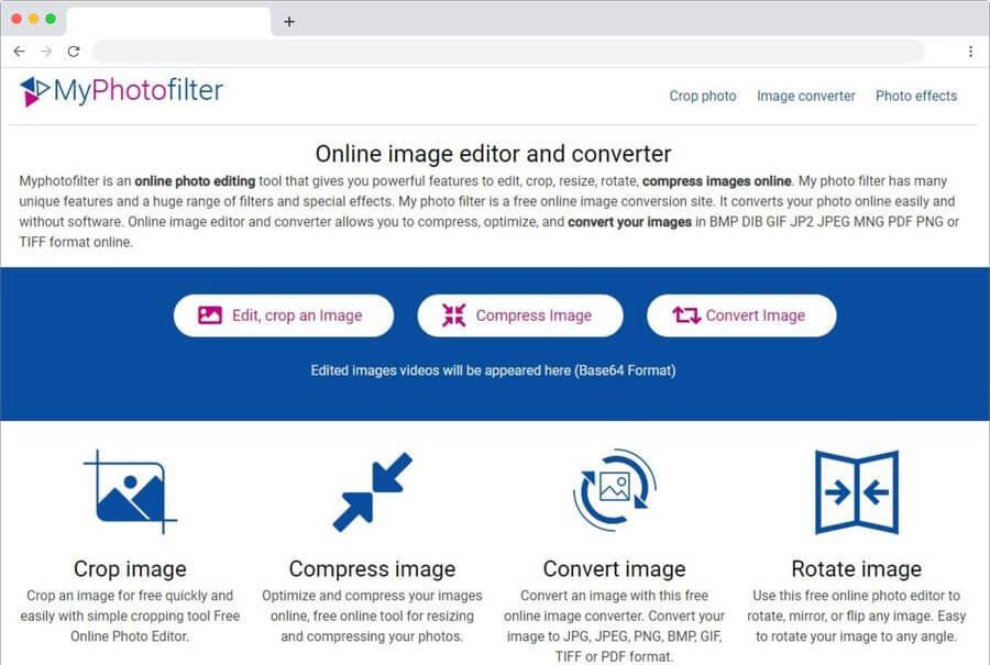 MyPhotoFilter: recortar, comprimir y convertir imágenes online y gratis