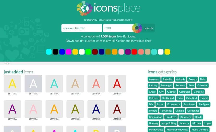 IconsPlace: más de 1500 iconos gratuitos y personalizables