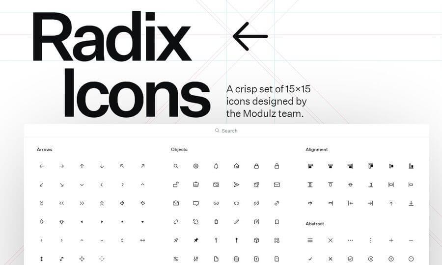 Radix Icons: colección de iconos gratuitos para todo tipo de usos