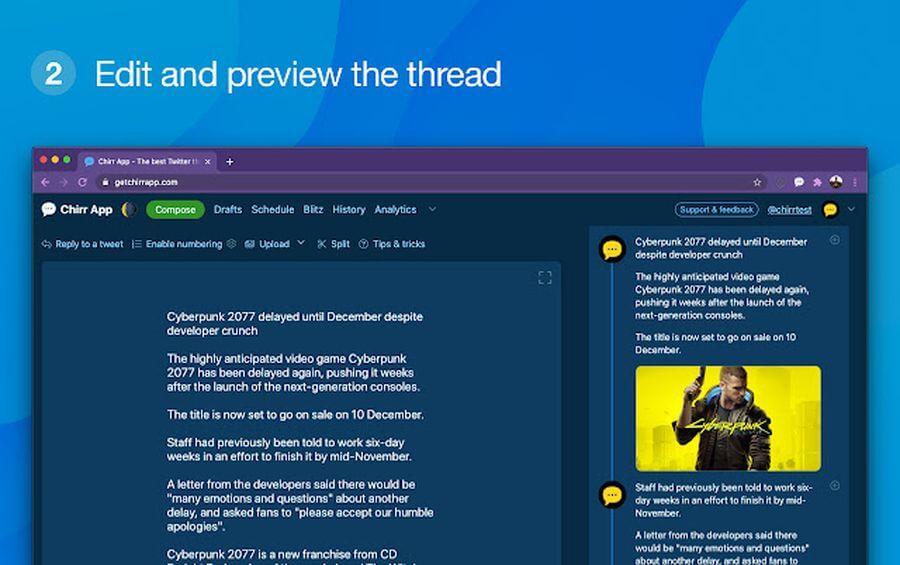 Chirr App: extensión de Chrome que convierte artículos en hilos de Twitter