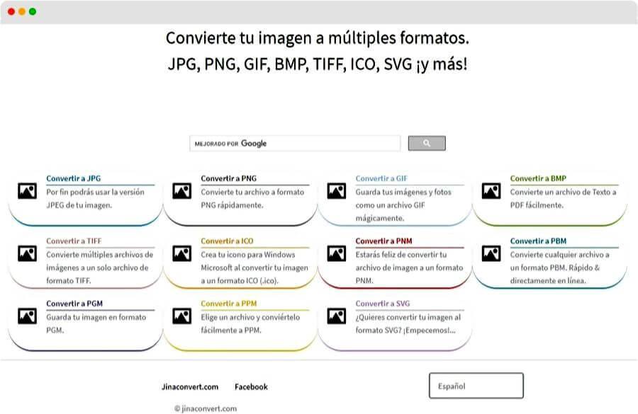 Convertir imágenes a otro formato online y gratis con Jinaconvert