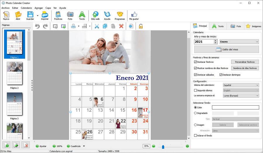 Photo Calendar Creator: crear todo tipo de calendarios fotográficos para imprimir